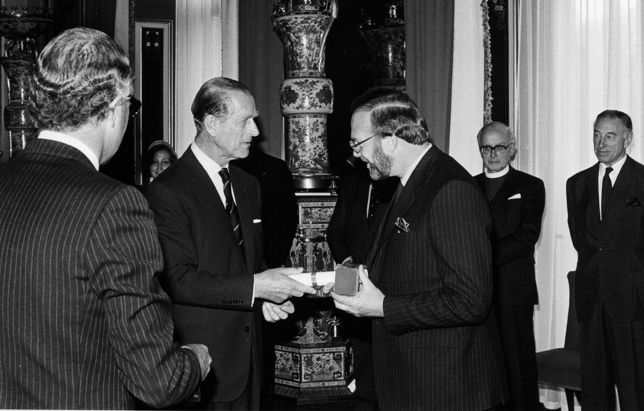 Michael Bourdeaux 1984 Laureate of Templeton Prize accepting award from Prince Philip, Duke of Edinburgh at palace